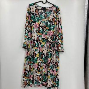 Lane Bryant 70s Style Floral Sleeved Midi Dress